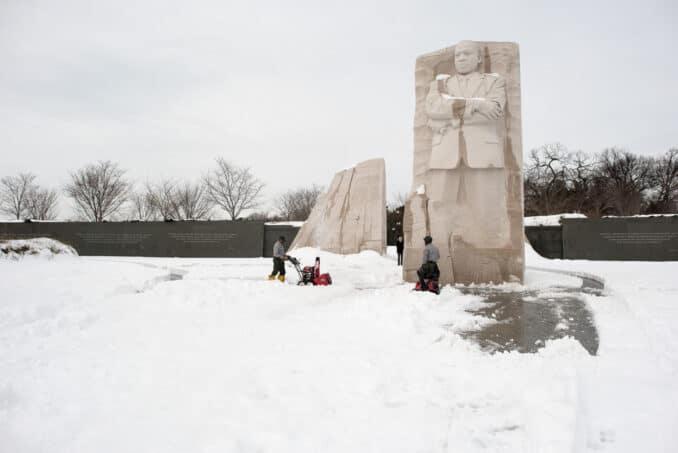 MLK Memorial in the Snow - January 26, 2016