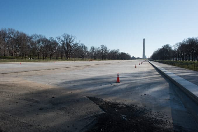 Lincoln Memorial Reflection Pool Drained for the Winter  - February 28, 2016