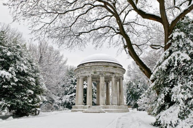 World War One Memorial in the Snow