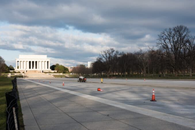 Lincoln Memorial Reflecting Pool Drained - March 2, 2016