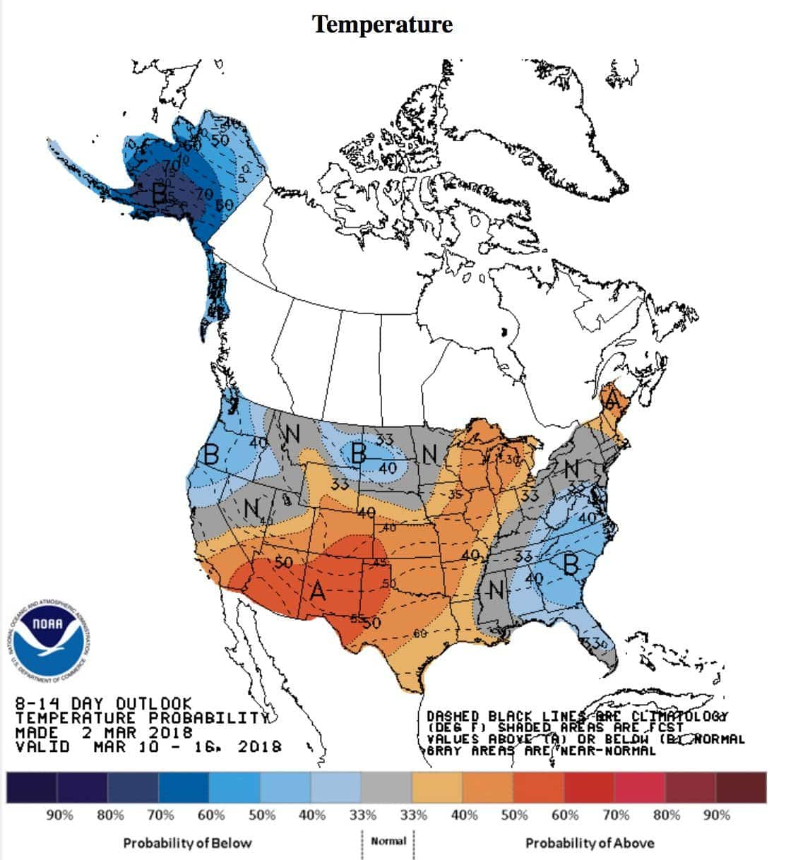 National Weather Service Temperature Forecast for March 10-16