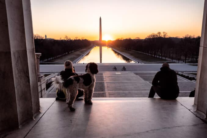 Solstice Sunrise on Steps of the Lincoln Memorial