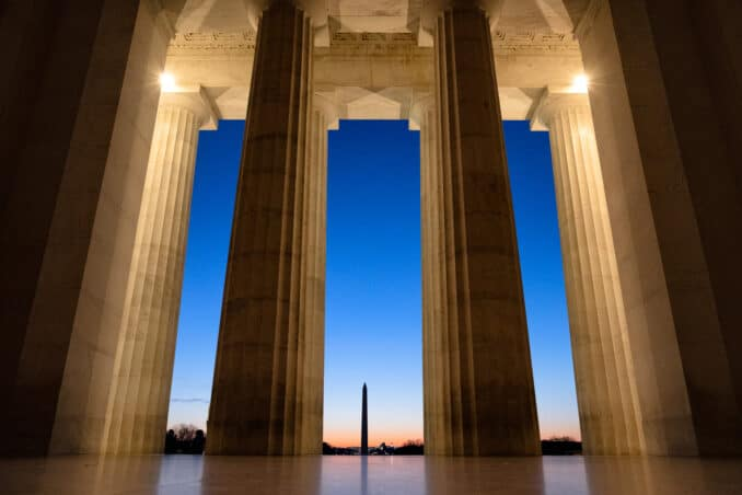 Photo of Lincoln Memorial at Sunrise taken by David Coleman.
