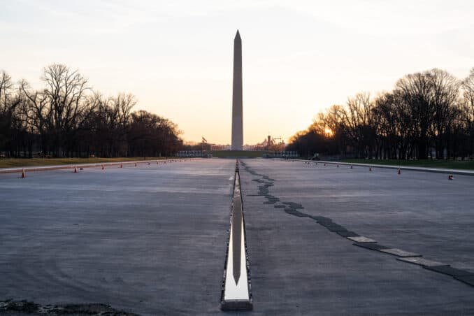 Photo of Lincoln Memorial Reflecting Pool Drained taken by David Coleman.